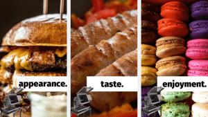 burger, sausage, macaron